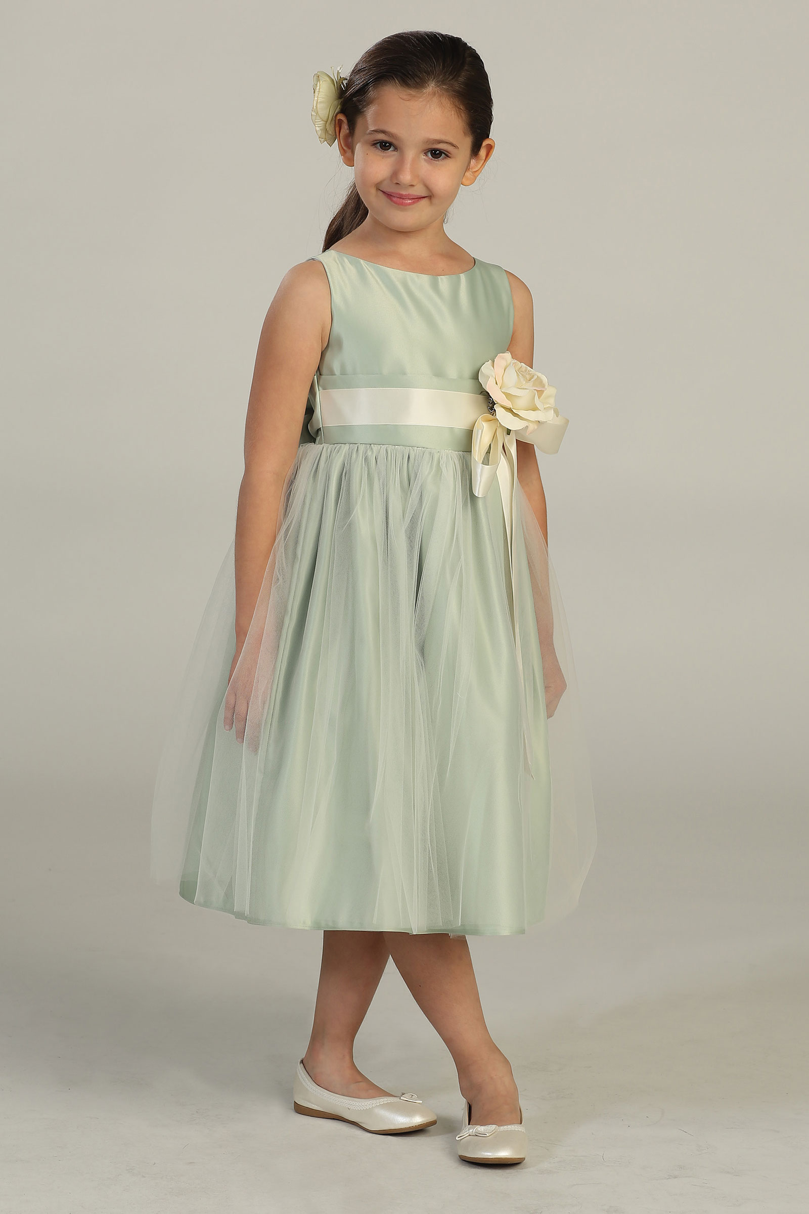 Sk 402sg Girls Dress Style 402 Sleeveless Satin And