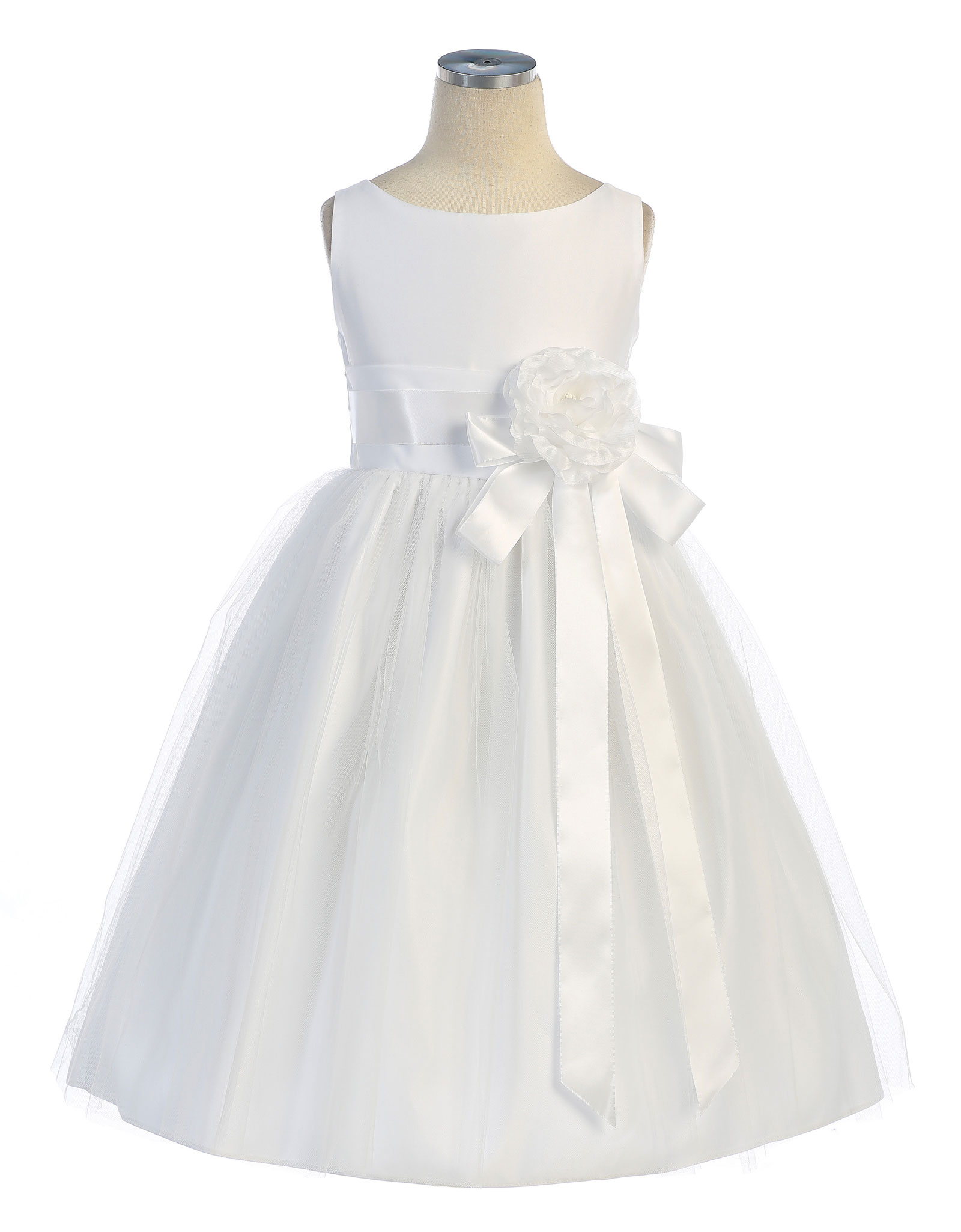 SK 402W Girls Dress Style 402 Sleeveless Satin and