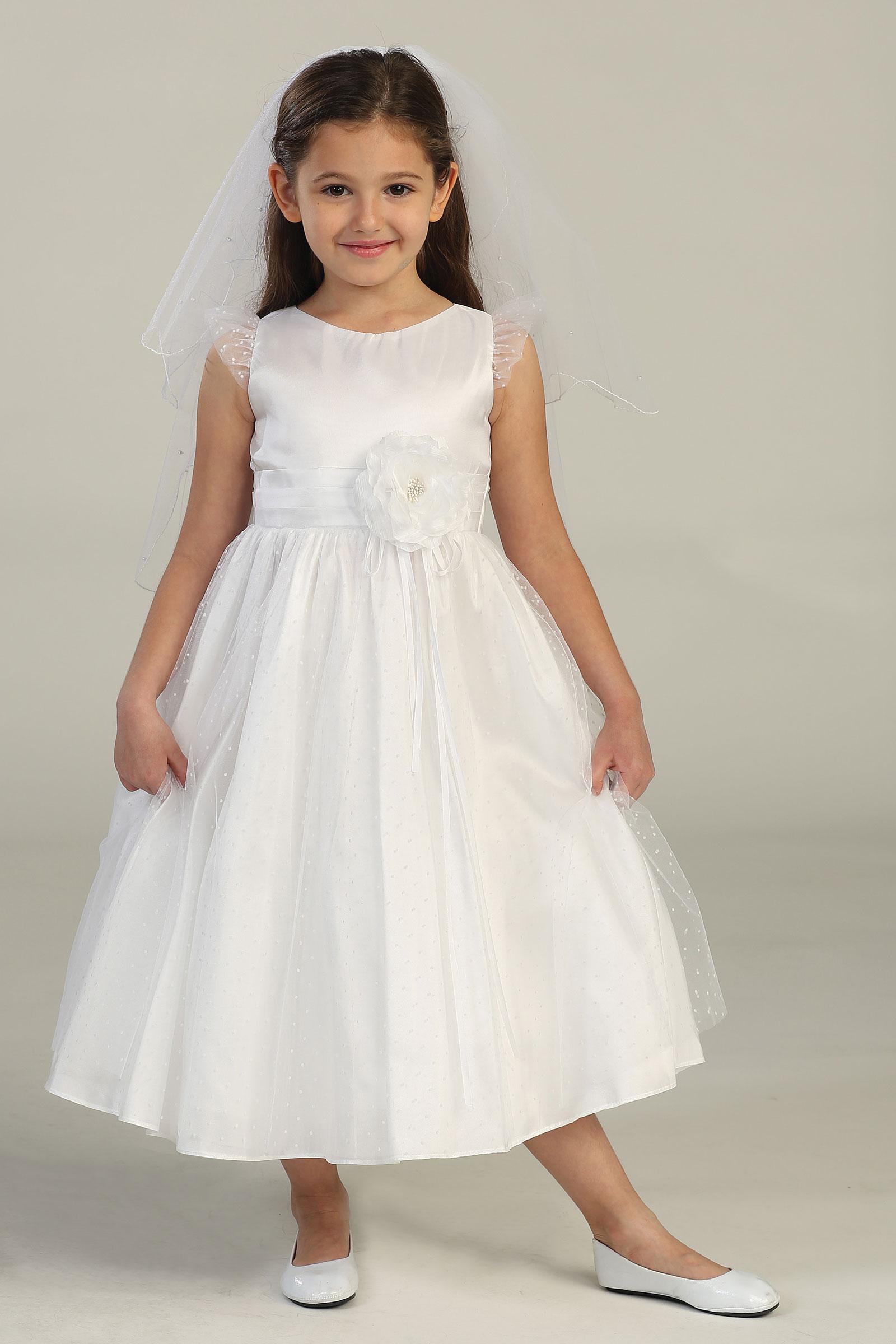 SK 417 Girls Dress Style 417 WHITE Satin and Mesh Polka Dot Dress Spring