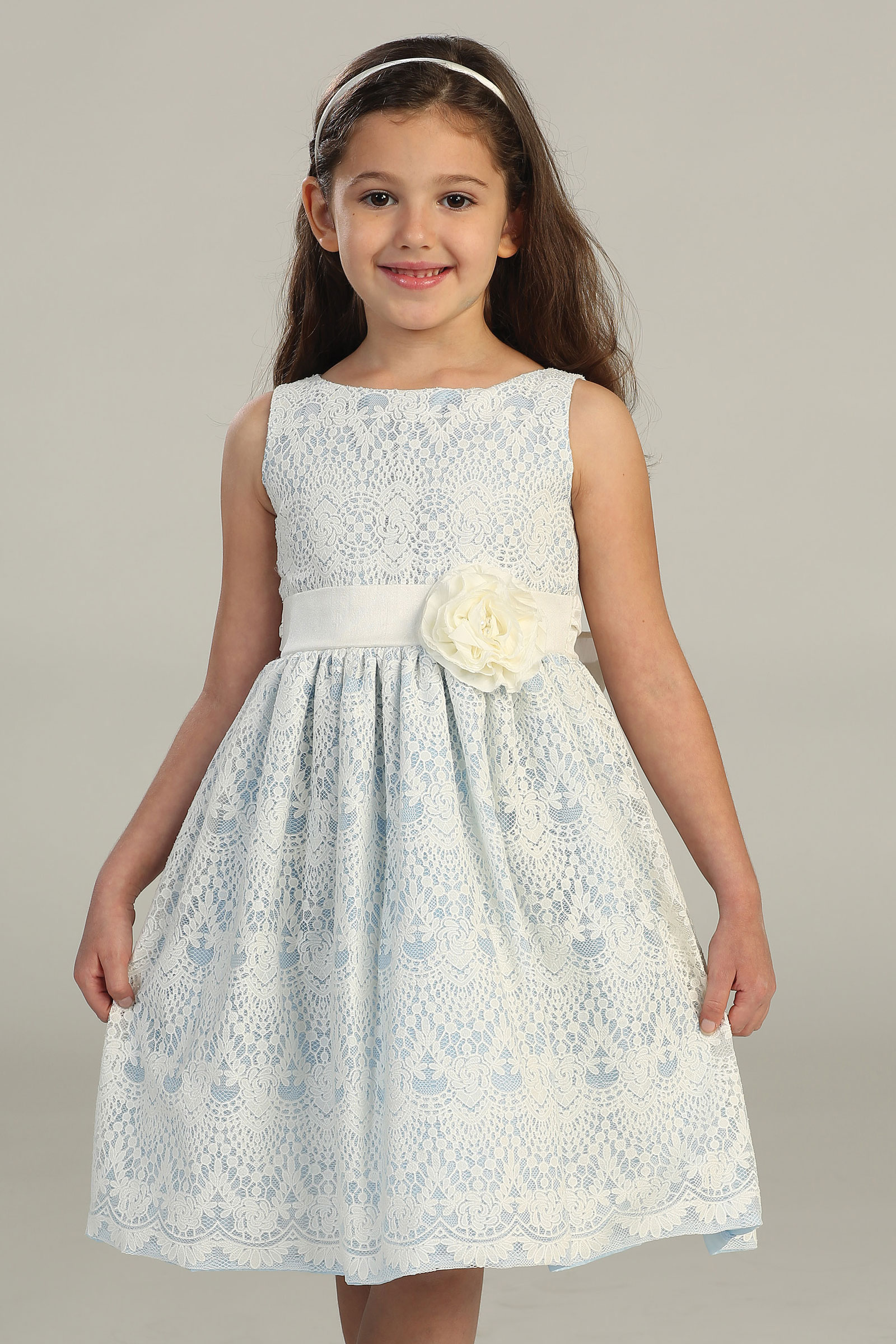 Sk437lb Girls Dress Style 437 Sleeveless Lace Dress Light Blue