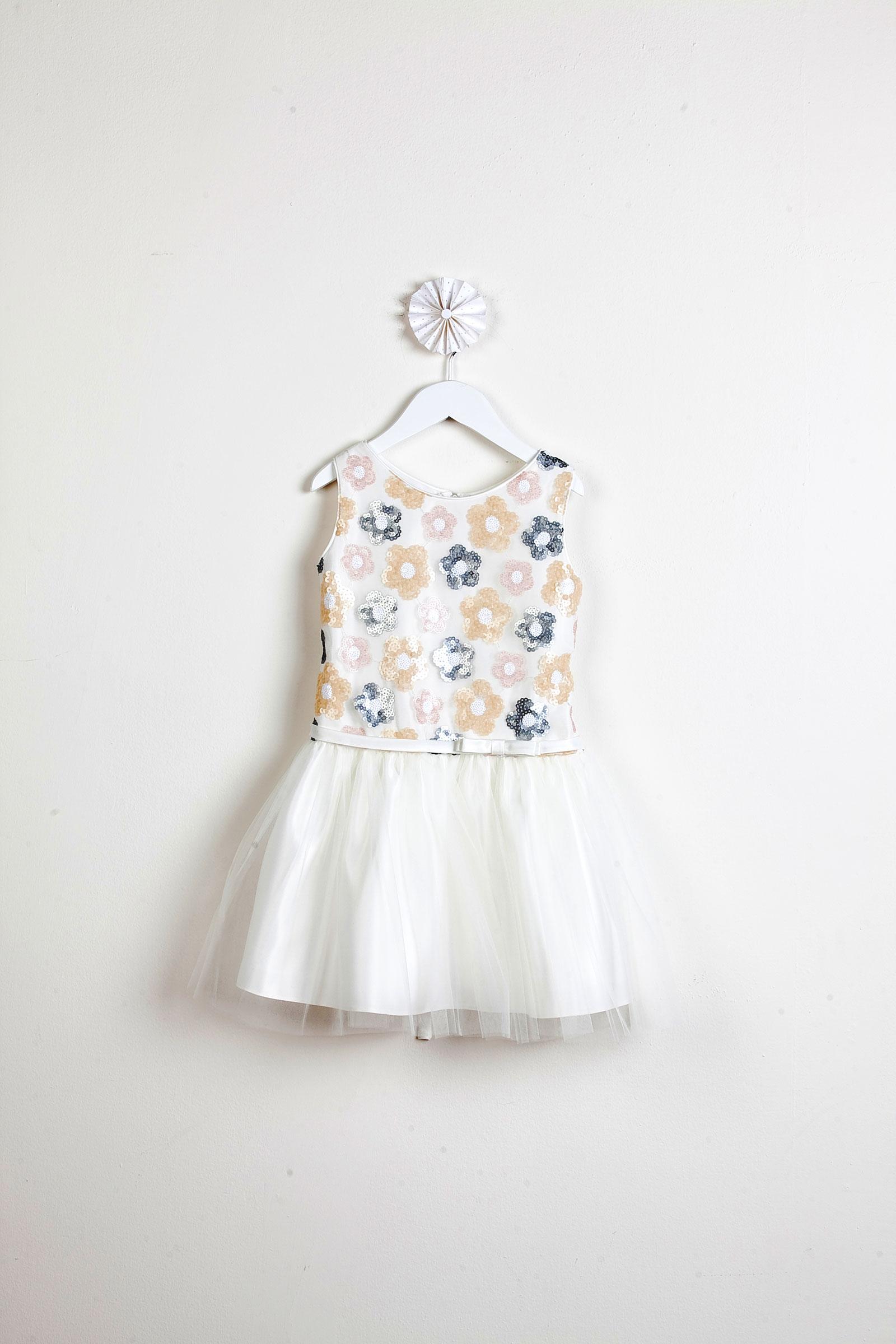 SK 511IV Girls Dress Style 511 Floral Sequin Drop Waist Dress Ivory Flow