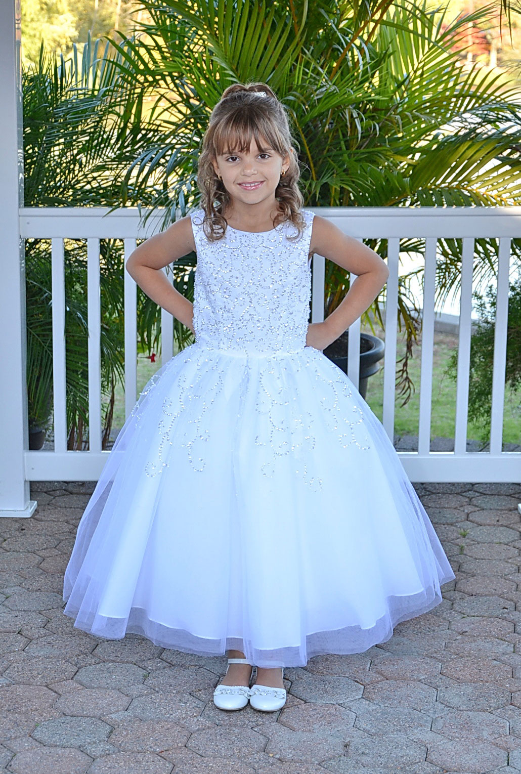 SP 472 Girls Dress Style 472 Satin Beaded Dress with