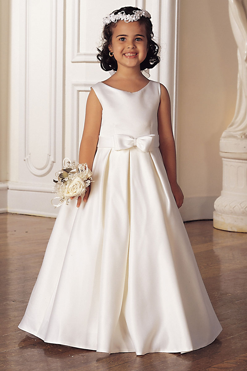 Sp 547 Flower Girl Dress Style 547 White Or Ivory Sleeveless Bridal Style All Satin Dress With