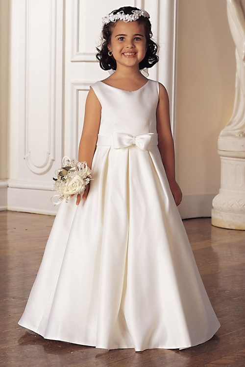 Flower Dress Style 547 White Or Ivory Sleeveless Bridal All Satin With