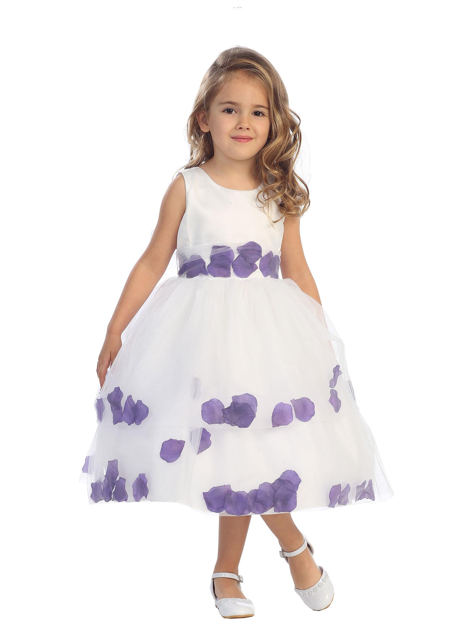 TT 5251PUR Girls Dress Style 5251 Sleeveless Satin and Tulle Double Petal