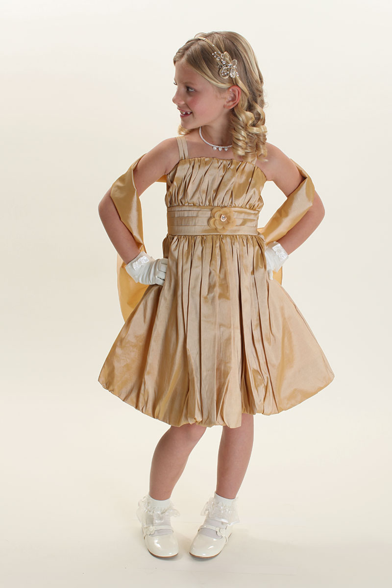Tt 9200gd Flower Girl Dress Style 9200 Gold Taffeta