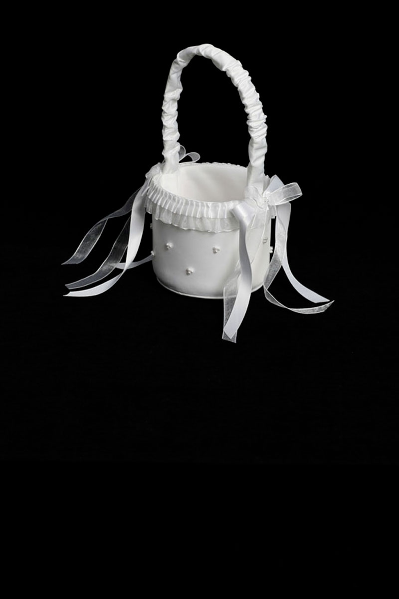 Ttbk1 Flower Girl Basket Style Bk1 Choice Of White Or Ivory With
