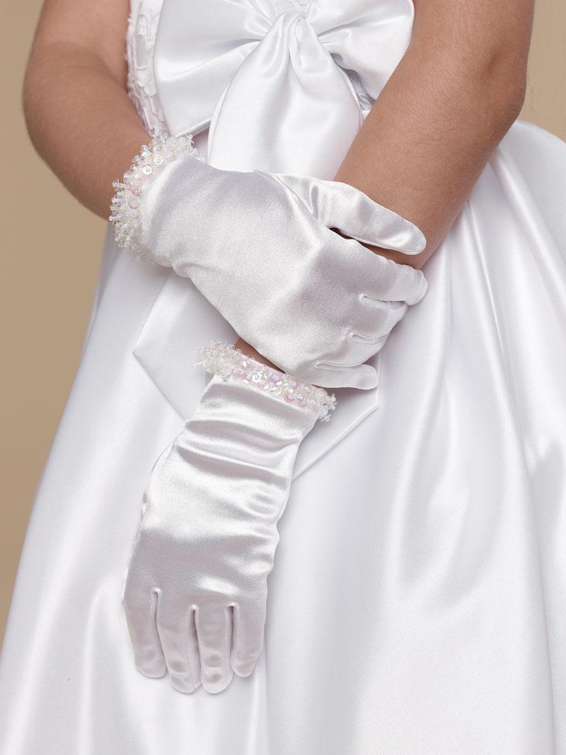 Ua G 7 11 Us Angels White Beaded Satin Gloves Style G 7